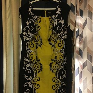 Voir Vior Black/Yellow,/White Sheath Stretch Dress